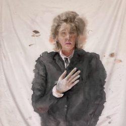 Porträt (nach Edvard Munch), Tusche/Gouache auf Polyester, 120x144cm, 2021