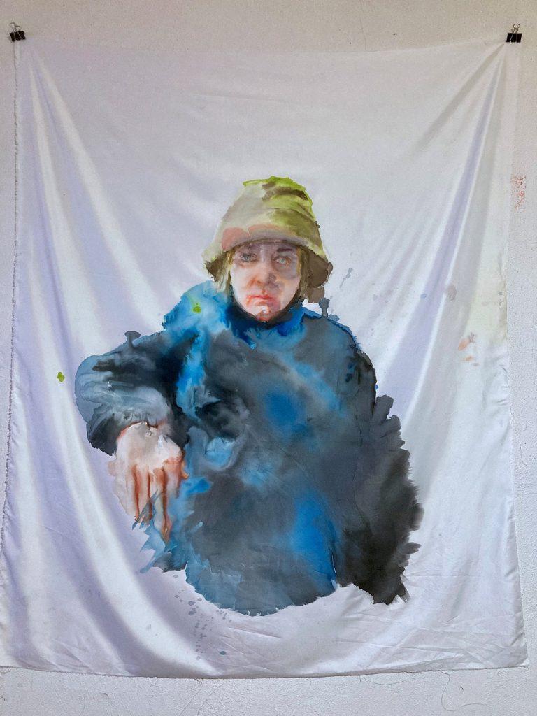 Selbstporträt (nach Edvard Munch), Tusche auf Polyester, 2021, 118x146 cm