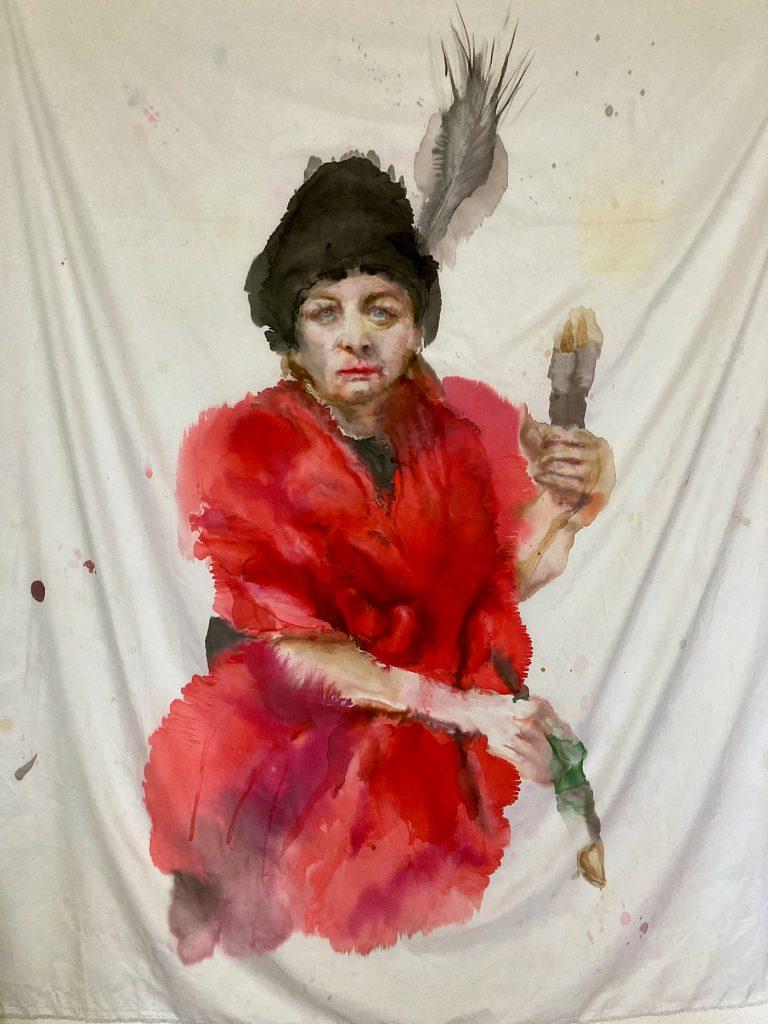 Porträt (nach Cosmas Damian Asam), Tusche auf Polyester, 140x162 cm, 2021