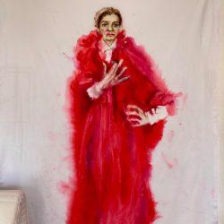 Selbstporträt (nach John Singer Sargent), Tusche auf Baumwolle, 214x150 cm, 2021