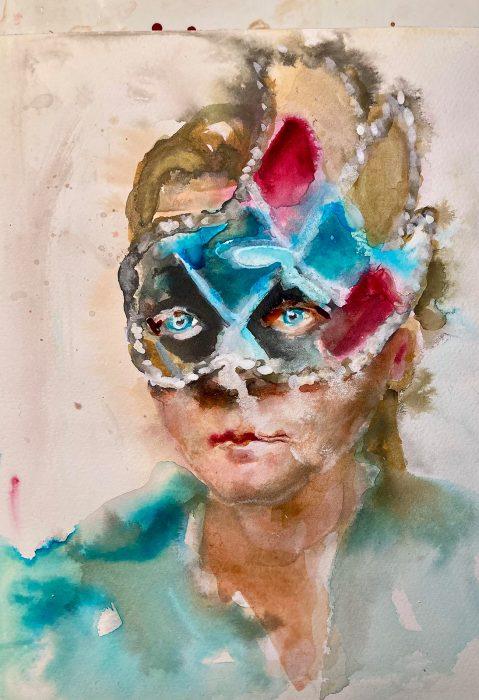 Kleines Porträt 1, Tusche auf Papier, 2020