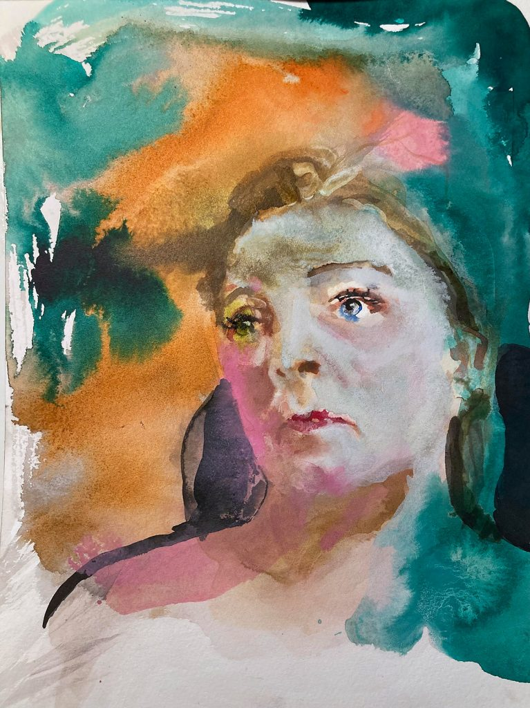Kleines Porträt 2, Tusche auf Papier, 2020