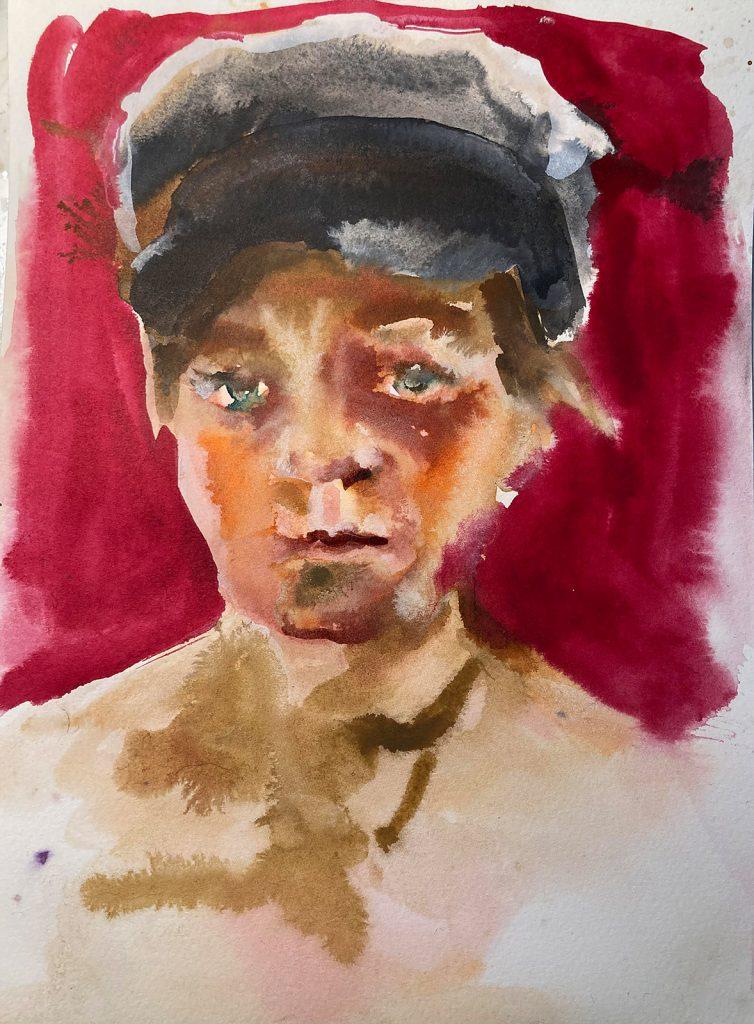 Kleines Porträt 3, Tusche auf Papier, 2020