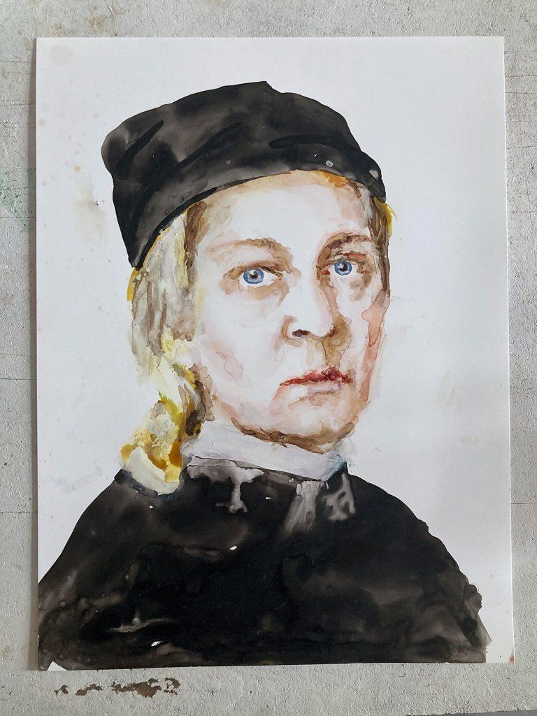 Kleines Selbstportrait, Tusche auf Papier, 2020