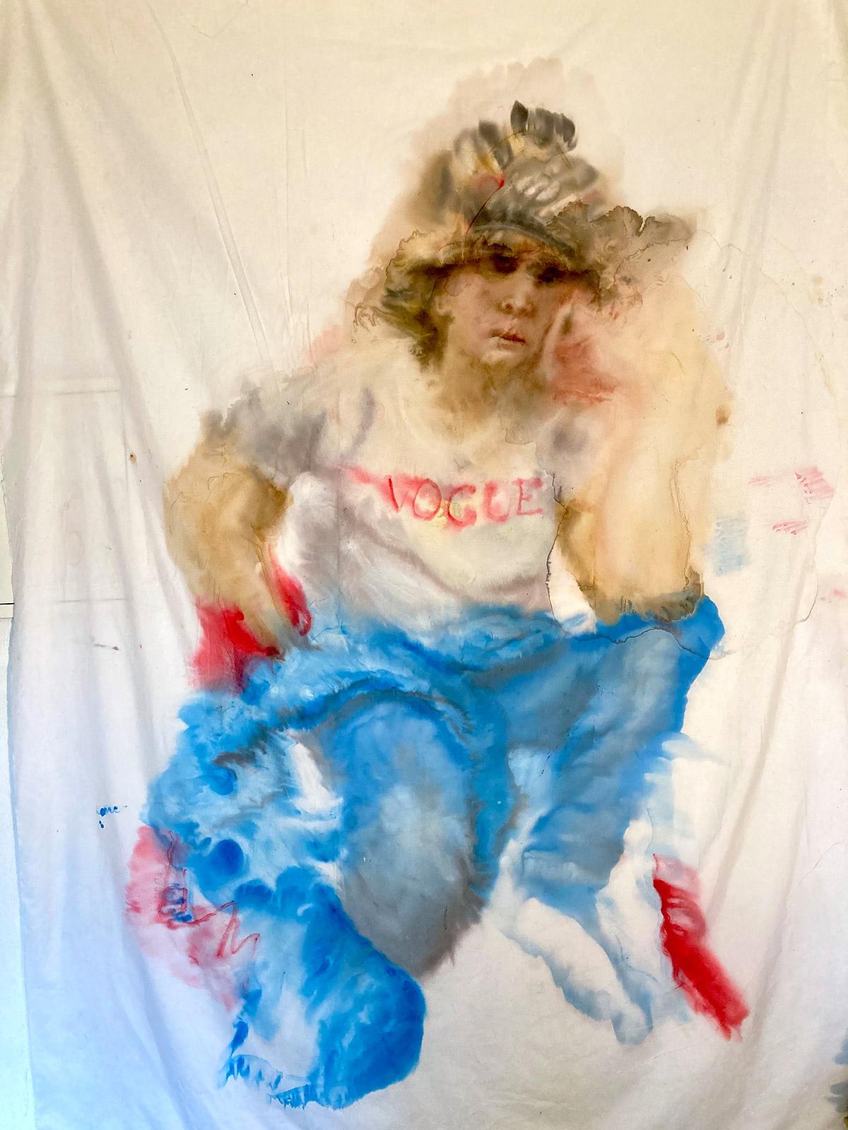 Porträt (nach Velasques: Mars), Tusche auf Polyester, 2021, 177x224 cm