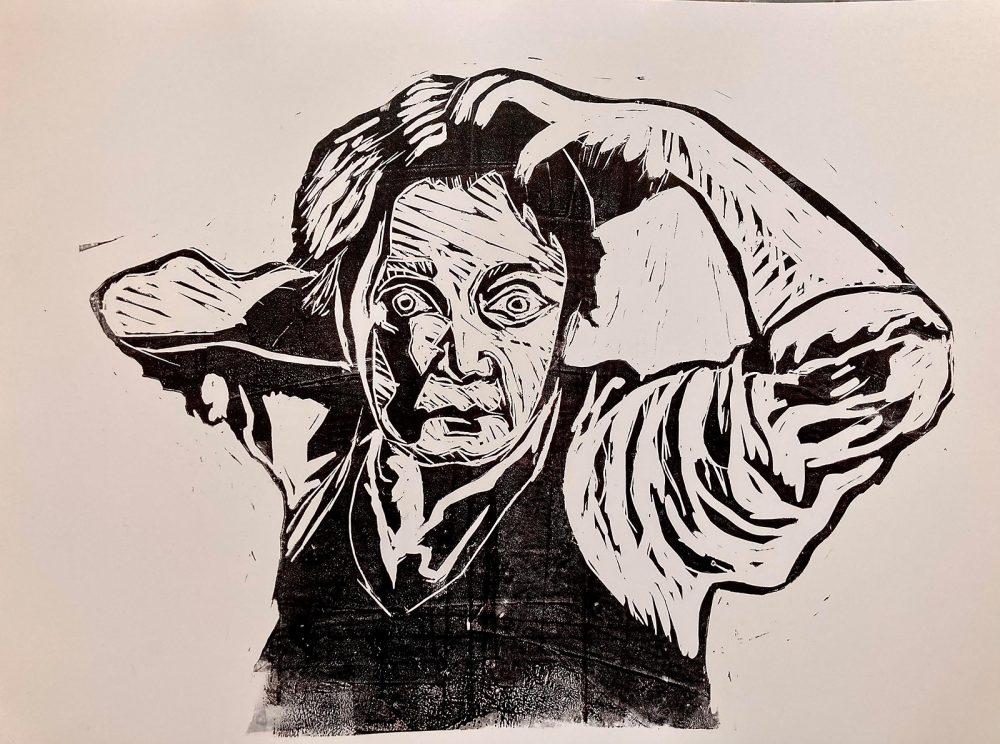 Selbstporträt (nach Courbet), Linoldruck auf Papier